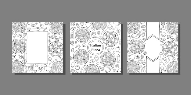 Hand drawn italian pizza covers template set