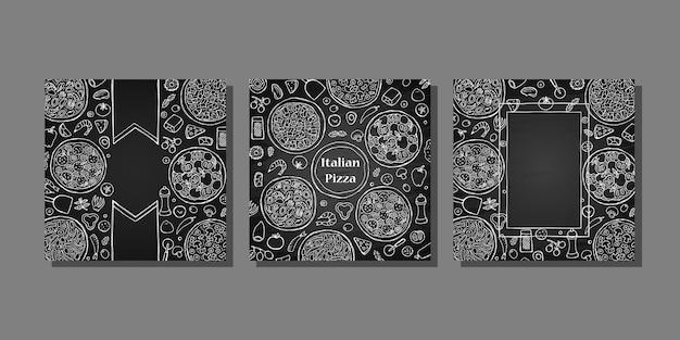 Набор шаблонов обложек рисованной итальянской пиццы