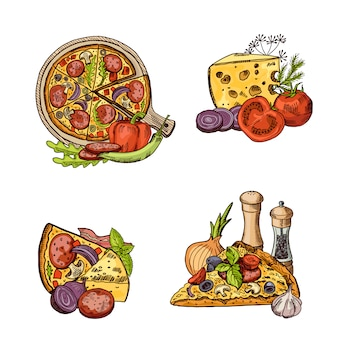 Hand drawn italian pizza, vegetables and cheese piles set.