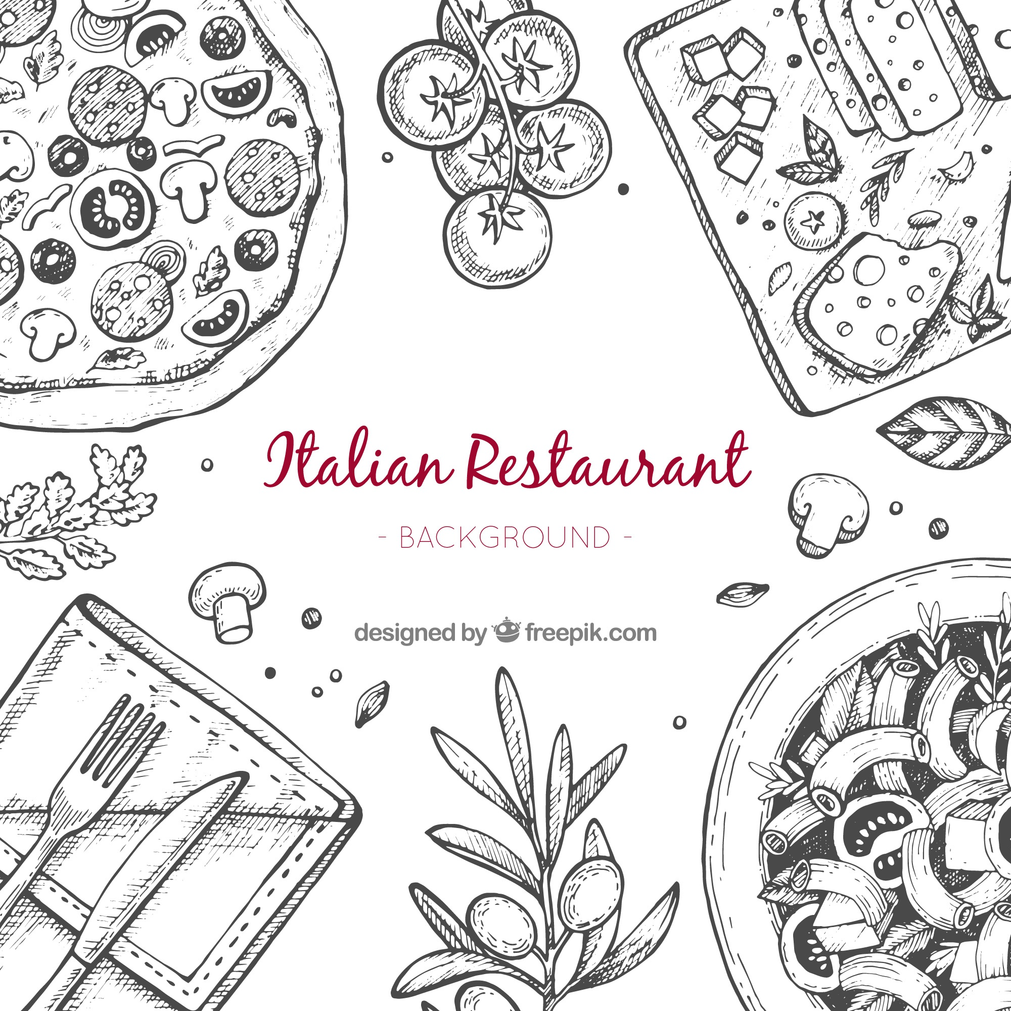 Hand drawn italian restaurant background