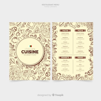 Hand drawn italian restaurant menu template