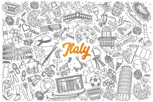 Hand drawn italy doodle set background with orange lettering