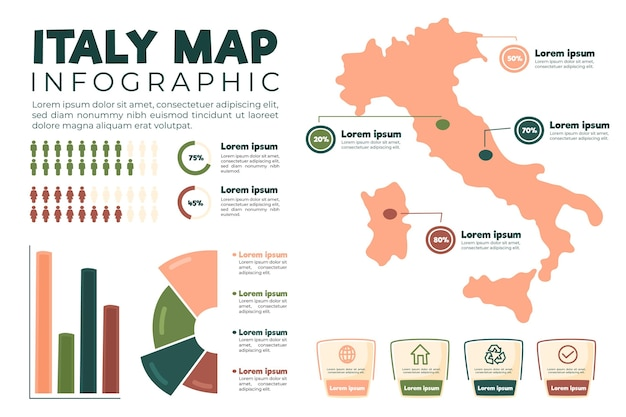 Hand drawn italy map infographic