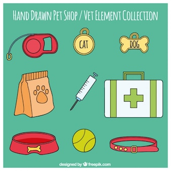 Hand drawn item collection of veterinary