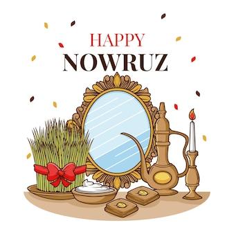 Hand drawn items illustrations happy nowruz Free Vector