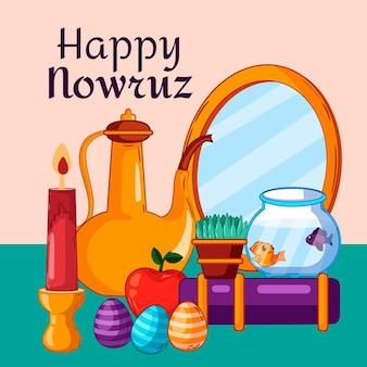 Hand drawn items illustrations nowruz