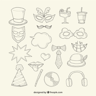 Hand-drawn items for party photo booth