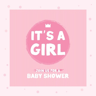 Hand drawn its a girl quote on white background. baby shower card with lettering, crown, and heart. baby girl announcement card