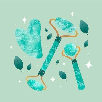手描きの翡翠ローラーとグアシャのイラスト