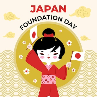 Hand-drawn japan foundation day illustration