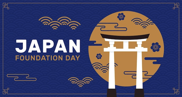 Hand drawn japan foundation day