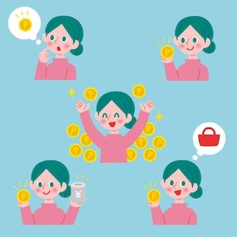 손으로 그린 일본 문자 수집 포인트 그림
