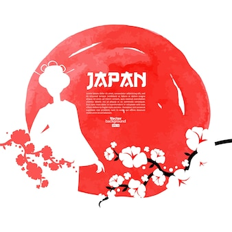 Hand drawn japanese cherry illustration. sketch and watercolor template background