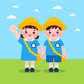 Studenti di bambini giapponesi disegnati a mano con l'uniforme
