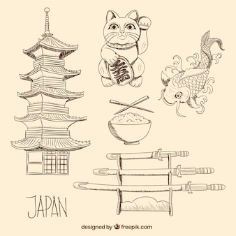 Hand drawn japanese culture elements