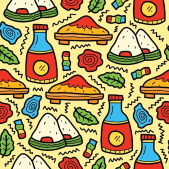 Hand drawn japanese food cartoon doodle pattern