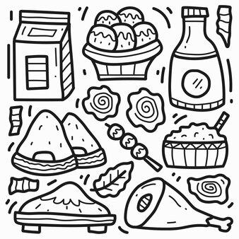 手描き日本食漫画落書き