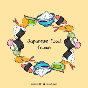 Hand drawn japanese food frame