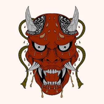 Hand drawn japanese hannya demon red theatre betrayed woman mask with eyes and mouth wide open shar
