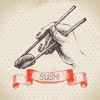 손으로 그린 일본 그림입니다. 스케치와 수채화 배경