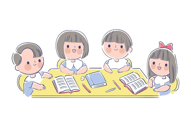 Hand drawn japanese kids studying