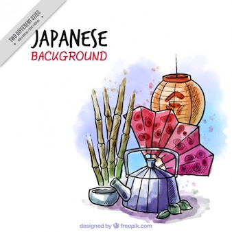 Hand drawn japanese objects in watercolor effect background