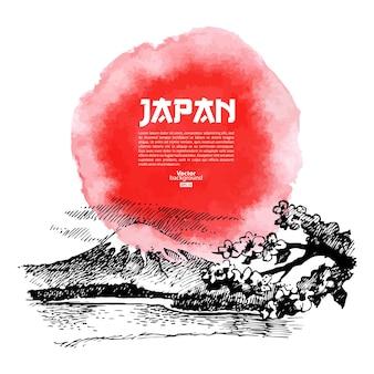 손으로 그린 일본 스시 그림. 스케치와 수채화 배경