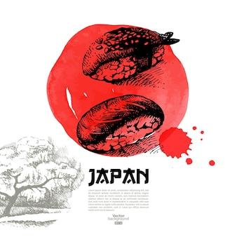 손으로 그린 일본 스시 그림. 스케치와 수채화 메뉴 배경