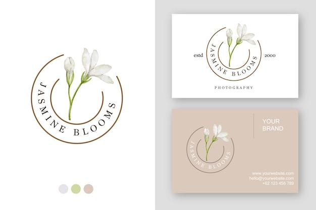 Ручной обращается жасмин логотип дизайн визитной карточки шаблон