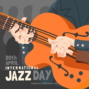 Hand drawn jazz day composition