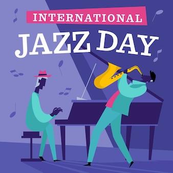 Нарисованная рукой иллюстрация дня джаза с музыкантами