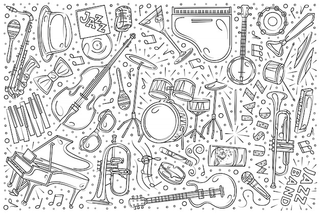 Hand drawn jazz festival set doodle