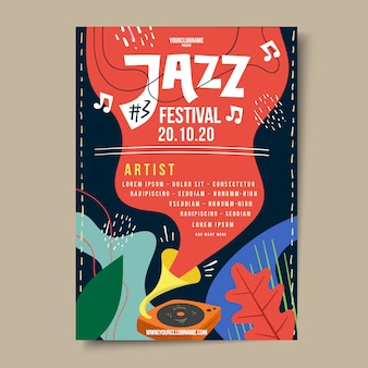 Hand drawn jazz music festival poster