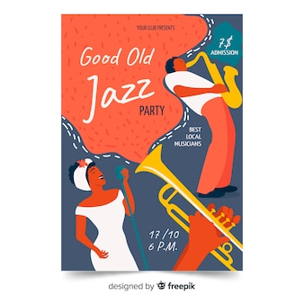 Hand drawn jazz music poster template