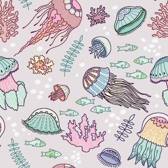 手描きクラゲパターン