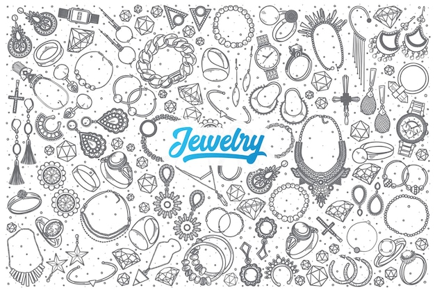 Hand drawn jewelry doodle set background with blue lettering