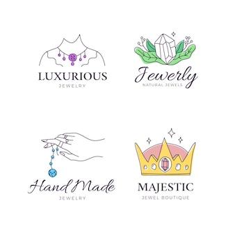 Collezione di logo di gioielli disegnati a mano