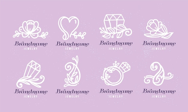 Hand drawn jewelry logo pack
