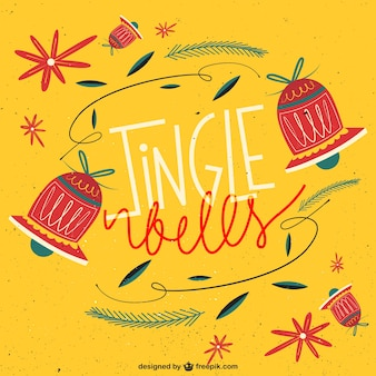 Hand drawn jingle bells background