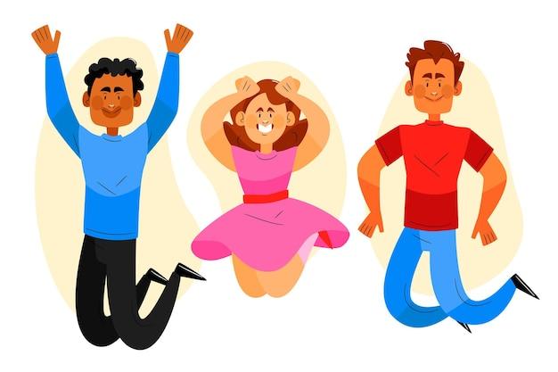 Hand drawn joyful people jumping together