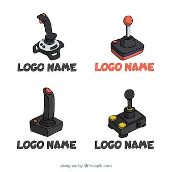 Collezione di logo joystick disegnato a mano con stile vintage