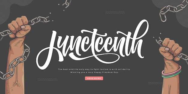 Hand drawn juneteenth lettering banner template