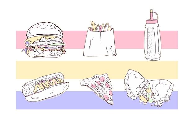 Raccolta di cibo spazzatura disegnato a mano