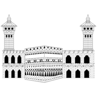 Hand drawn of kabah in zentangle style