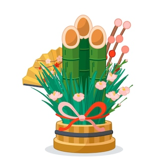 Hand drawn kadomatsu decoration