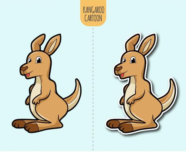 Нарисованная рукой иллюстрация шаржа кенгуру с вариантом дизайна стикера