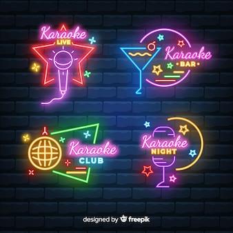 Hand drawn karaoke neon light collection