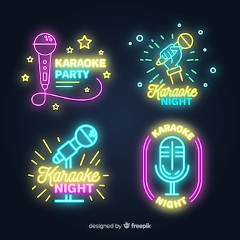 Hand drawn karaoke neon light collection