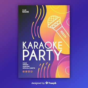 Hand drawn karaoke night poster template
