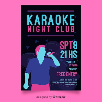 Hand drawn karaoke party poster template